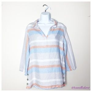 CYNTHIA ROWLEY | Peach&Blue Striped Longsleeve Top